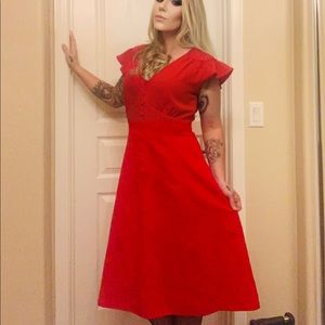 Red calvin klein pin up style dress